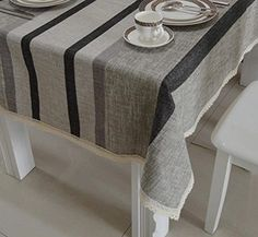 Modern minimalist table cloth fabric/Pastoral silver stripe cotton table cloth/ table cloth/ table cloth/ table cloth-D 120x160cm(47x63inch)