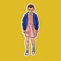 Stranger Things - Eleven Vinyl Sticker 011 Art Illustration, Netflix, Portrait, Scifi, Horror, Fanart Laptop Sticker, Sticker Bomb by NickLackeArt on Etsy