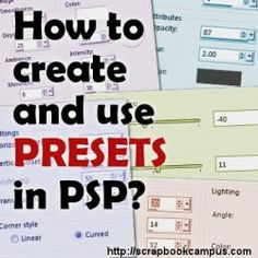 How to create and use presets in Paintshop Pro