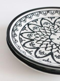 Dessertteller Bunzlauer Keramik schwarz - HOUSE of IDEAS Orientalische Dekorationsartikel und Bunzlauer Keramik