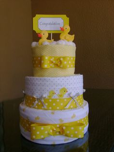 Yellow and White Ducky 3 Tier Diaper Cake by MakelleDesigns, $55.00