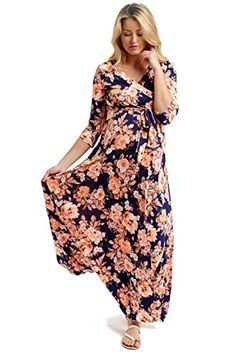 PinkBlush Maternity Orange Floral Draped MaternityNursing Maxi Dress Small