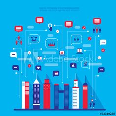 City social network Urban landscape filled with business icons Business Icon, Urban Landscape, Free Vector Art, Image Now, Abstract, City, Illustration, Clouds, Icons
