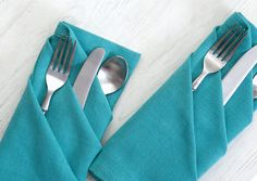 With summer occasions for outdoor entertaining, keep your linens and flatware in place and spruce up your table by using this three pocket napkin fold.