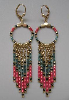 Seed Bead Chain Hoop Earrrings  Teal Green/Coral by pattimacs, $16.00