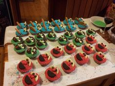 Elmo, Oscar and Cookie Monster cupcakes made for my daughter Avalon's b'day