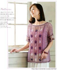1 (565x700, 242Kb) Crochet Shirt, Crochet Top, Crochet Clothes, Lace, Pattern, Shirts, Tops, Dresses, Women