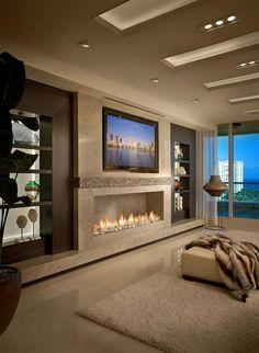 plafond lumineux, cheminée moderne, grand salon beige glamoureux