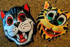 Vintage Halloween plastic Animal mask Lot Set of 2 Cat tiger #BenCooper #Halloween Cat Mask, Animal Masks, Plastic Animals, Halloween Masks, Vintage Halloween, Unique Vintage, Superhero, Things To Sell, Cats