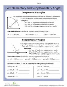 Printables Complementary And Supplementary Angles Worksheet complementary angles set of geometry and shape worksheets supplementary angles