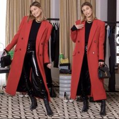 Hailey Baldwin Vogue, Hailey Baldwin Style, Red Coat Outfit, Winter Coat Outfits, Alexander Wang, Kpop Fashion Outfits, Fasion, Street Style, Double Breasted