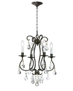 Crystorama Lighting Group Ashton English Bronze Four Light Chandelier With Hand Polished Crystal 5014 Eb Cl Mwp Mini Chandelier, Chandelier Lighting, Bathroom Chandelier, Candle Cups, Crystal Design, White Candles, Ballard Designs, Bronze Finish, Light Fixtures