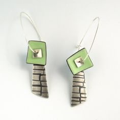 Enameled earrings - W Walsh Designs Enamel Jewelry, Metal Jewelry, Pendant Jewelry, Jewelry Art, Silver Jewelry, Silver Earrings, Jewlery, Jewelry Design, Custom Earrings