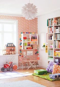 bright and colourful kids playroom reading nook lighting wallpaper feature wall Children's Playroom