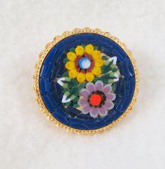 Italian Murano Venetian Round Micro Mosaic Floral Art Glass Brooch Pin by Framarines on Etsy