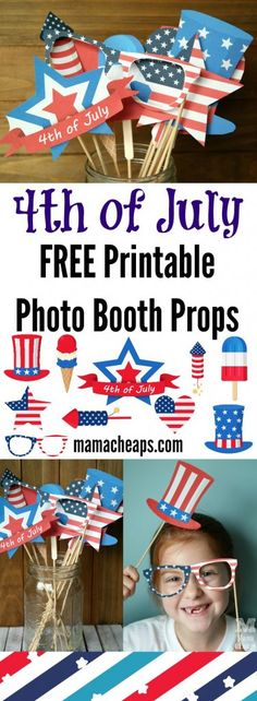 of July Photo Booth Props - FREE Printables of July FREE Printable Photo Booth Props - print and cut these FREE patriotic photo booth props. They'll be the hit of your holiday BBQ! More free printables at ! Photos Booth, Photo Booth Props, Patriotic Party, 4th Of July Party, July 4th Wedding, Patriotic Crafts, 4th Of July Photos, 4th Of July Ideas, Fourth Of July Crafts For Kids
