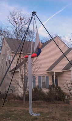 Aerial Dancer in Backyard