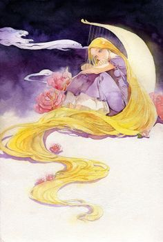Anime picture with tangled disney rapunzel jiu chuan ying single tall image blonde hair sitting looking away very long hair aqua eyes watercolor (medium) traditional media girl dress flower (flowers) frills short sleeves purple dress Disney Princess Rapunzel, Disney Tangled, Tangled Rapunzel, Disney Fan Art, Disney Love, Disney And Dreamworks, Disney Pixar, Walt Disney, Rapunzel And Eugene