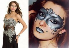 """Artistic silver and black masquerade makeup mask accented with crystals, titled """"Mysterious Prom Queen""""."""