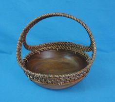 Vintage Monkey Pod Wood Bowl with Woven Basket Handle - FANTASTIC ITEM