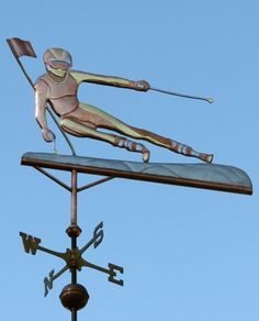 Skier Weathervane Slalom Female made by West Coast Weather Vanes. Women's Equestrian, Weather Vanes, Carriage House, Shop Signs, Metal Art, West Coast, Female, Turning, Beautiful Things