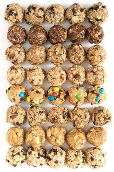Your snack game will never be the same once you try these no-bake oatmeal energy balls. Includes eight flavor options, as well as tips for making your own. snacks Monster Cookie No-Bake Oatmeal Energy Balls Healthy Energy Ball Recipe, Paleo Energy Balls, Food For Energy, Energy Snacks, Baked Oatmeal, Oatmeal Bars Healthy, No Bake Oatmeal Bars, Oatmeal Recipes, Healthy Treats