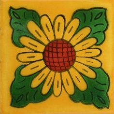 Traditional Mexican Tile - Girasol 4 Hojas Fdo Mostaza - Mexican Tile Designs
