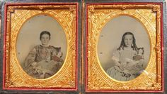 RARE PAIR CIVIL WAR ERA TINTED AMBROTYPE S BEAUTIFUL GIRLS WITH SAME CHINA DOLL