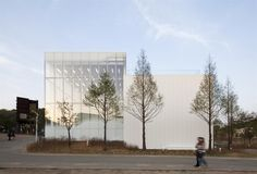 White Block Gallery, Heyri Art Valley; transparent glass against opaque massing; SsD Architects; Paju, Korea