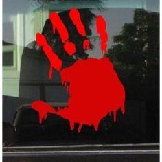 "BLOODY ZOMBIE HAND PRINT(Right Hand) - 5.5"" RED (IKON SIGN ORIGINAL) - Vinyl Decal WINDOW Sticker - NOTEBOOK, LAPTOP, WALL, WINDOWS, ETC."
