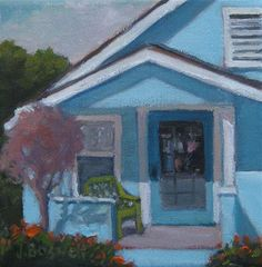 Porch with Green Chair by Jennifer Boswell