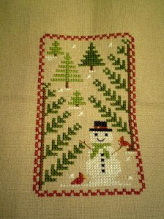 cross stitch - snowman and christmas trees