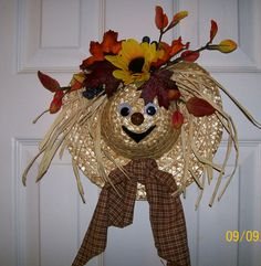 Festive Straw Hat Scarecrow Wreath by KnickKnackCrafter on Etsy, $30.00