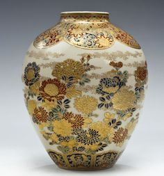 Gilded vase Meiji period Japan, gilt signature Kazui ga (painted), Shimazu mon and red seal.