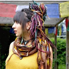 Absolutely loving lush dreads at the moment with all that colour! 💚💛🧡💜 our felt looks right at home amongst… Dreadlocks Girl, Wool Dreads, Locs, Dreadlock Hairstyles, Girl Hairstyles, Colored Dreads, Hippie Goth, Dreadlock Accessories, Dreadlock Extensions