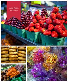 Market, Granville Island, Vancouver. Endless rows of fresh foods and flowers! Cheeses, meats, breads, produce, jams, gelato, seafood, pastries...mmmmm!