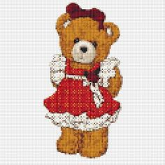 Teddy Bear Counted Cross Stitch Pattern Chart by xstitchpatterns