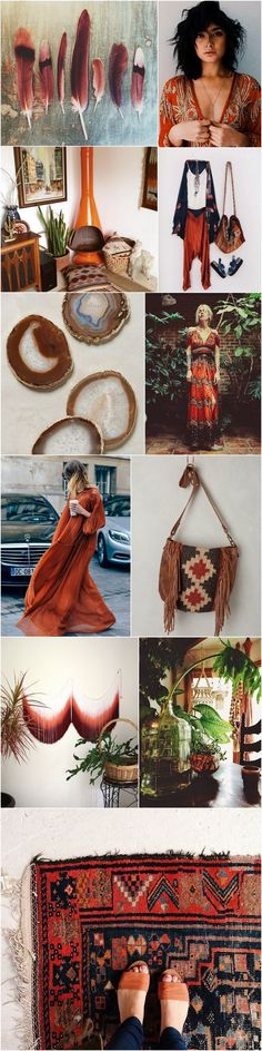 Pinspiration from bohocollective.com: Inspiration for being a really real boho chic. I love the rusty and earthy colour of orange, brown and burgundy. Really natural. Really bohemian.
