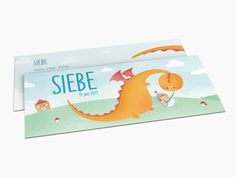 Avondster: lief geboortekaartje voor Siebe met een illustratie van een lieve draak en kleine ridder met zwaard - Avondster: cute birth announcement for Siebe with illustration of a cute dragon and a little knight with sword.