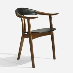 Arne Hovmand-Olsen; Teak, Stained Oak and Leather Armchair for Mogens Kold, 1956.