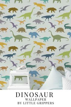 This Dinosaur wallpaper is the perfect way to make any truck loving kids room into their haven. An easy to install peel and stick wallpaper this eco-friendly product does not damage walls and leaves no sticky residue, making it a great option for renters. It not only looks amazing but is durable and cleanable. #wallpaper #kidswallpaper #kidsinteriors #peelandstick #Dinosaur #kidsroom #ecofriendlyinteriors Dinosaur Wallpaper, Kids Wallpaper, Peel And Stick Wallpaper, Dinosaur Kids Room, Kidsroom, Bedroom Kids, Nursery, Child Room, Deer Nursery