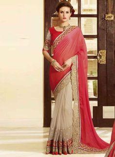 Radiant red beige net chiffon cut zari work designer half n half  sarees http://www.angelnx.com/Sarees/Wedding-Sarees