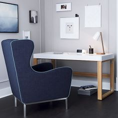 study navy wingback chair in view all sale | CB2
