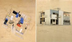 Gerrit Rietveld, Isometric (l) and perspective (r) drawings for The Schröder House (1924)