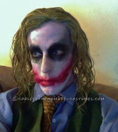 So here it is… The Joker. For starters, I look nothing like him, other then having a narrow face. I am in the Canadian military, so no long hair for this g Joker Costume, Homemade Costumes, Fall Halloween, Starters, Costume Ideas, Long Hair Styles, Face, Long Hairstyle, The Face