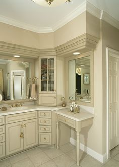 Custom Wood Products #bathroom #cabinets Corner cabinet and vanity table