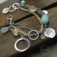 Bracelet is made of oxidized silver 925, citrine, chalcedony and amazonite  Dimensions: stones: 0.12-0.75 inches (3-19 mm) silver elements size from 0.5 - 0.98 inches (13 to 25mm )  The whole length: approx. 8.46 inches (22 cm) Adjustable inside circuit: 7.09 & 7.7 inches (18 and 19,5 cm).   READY TO SHIP  We pack all the items in corporate boxes (visible in some offers). We ship all the consignments as priority registered consignments in well protected cartons. Thank you for visiting