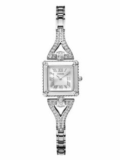 GUESS Silver-Tone Retro Glamour Watch GUESS. $90.00. Water resistant. Womens jewelry. watch. 10 Year Limited Warranty. analog movement