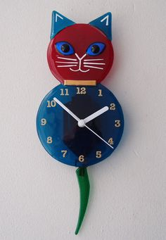 Cat Clock with Pendulum Tail by Admiral Glass eclectic clocks