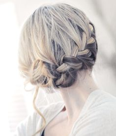 Loose french braid updo.  This would be great to add a flower to.